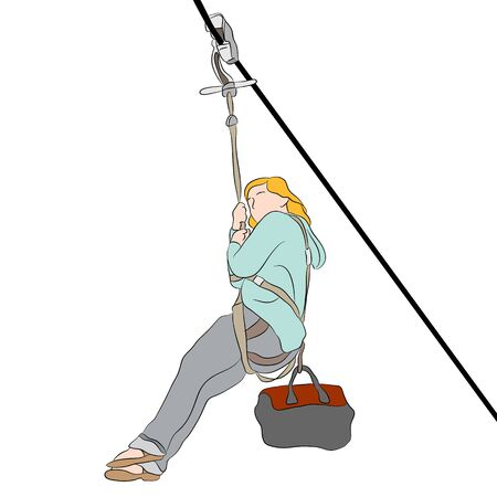 An image of a woman riding on a zip line.