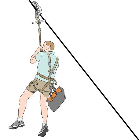 An image of a man wearing shorts  riding on a zip line. Illustration