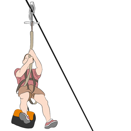 An image of a muscular man riding on a zip line. Illustration