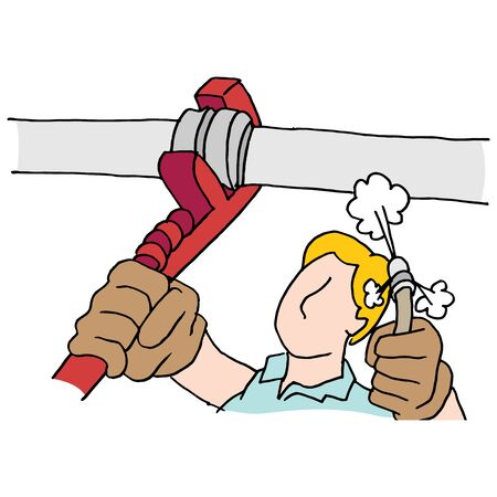 high pressure: An image of a plumber using wrench and high pressure hose on pipe.
