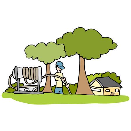 Een beeld van een hogedrukslang Loodgieter die in de voortuin van het huis.