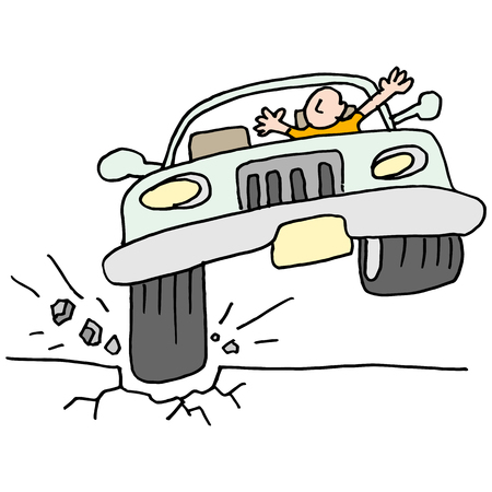 hit man: An image of a car hitting a pot hole.