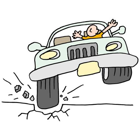 An image of a car hitting a pot hole.