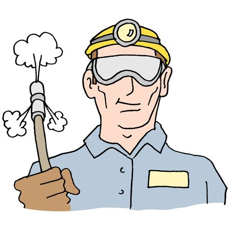 An image of a plumber holding high pressure hose. Vectores