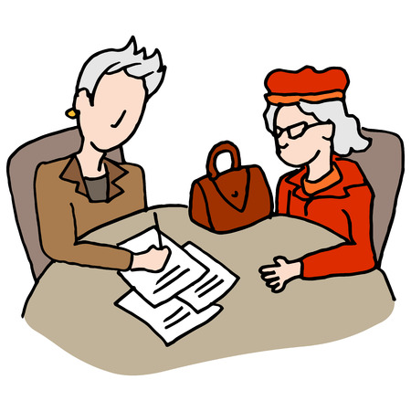 signing document: An image of a senior woman meeting with legal representative to sign documents.