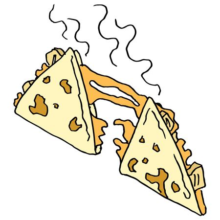 melted cheese: An image of a chicken and cheese quesadilla. Illustration
