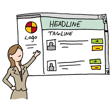 web site: An image of a woman presenting branded web site. Illustration