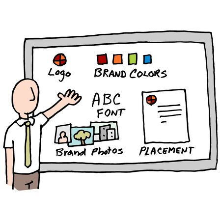 presenter: An image of a man giving brand management presentation. Illustration