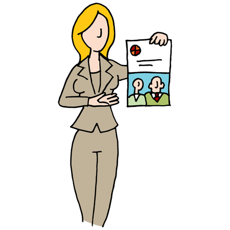 saleswoman: An image of a saleswoman displaying branded document.