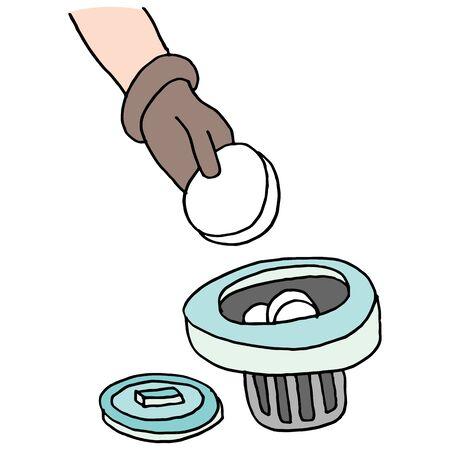adding: An image of a adding chlorine tablets to pool dispensor. Illustration