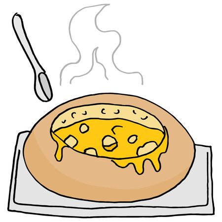 comfort food: An image of a soup bread bowl. Illustration