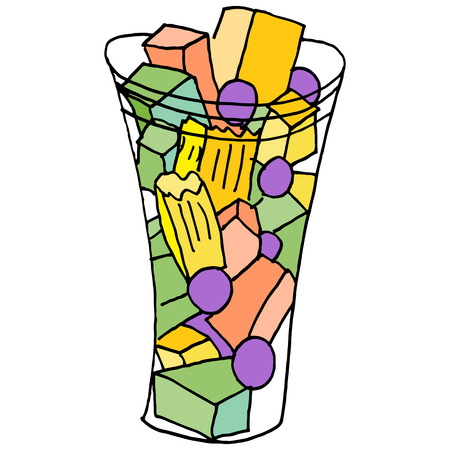 An image of a fruit cup snack. Ilustrace