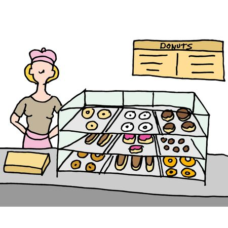 An image of a woman working at a doughnut shop counter.
