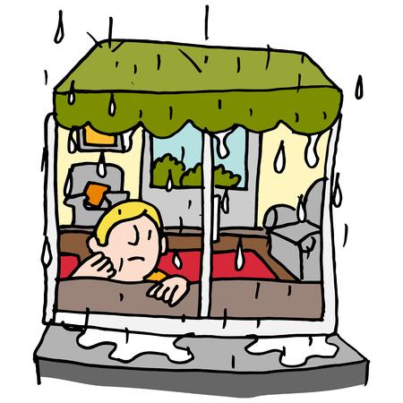 rain window: An image of a man sitting by a window on a rainy day.