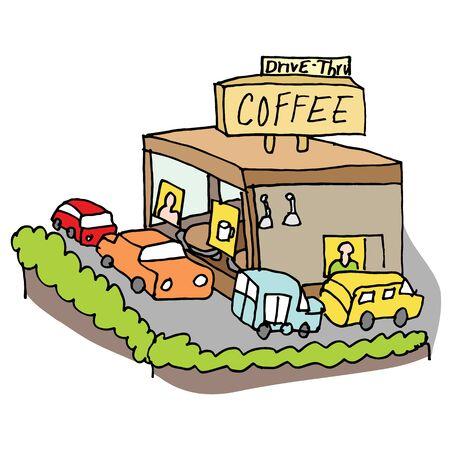 drive through: An image of a drive through coffee shop.