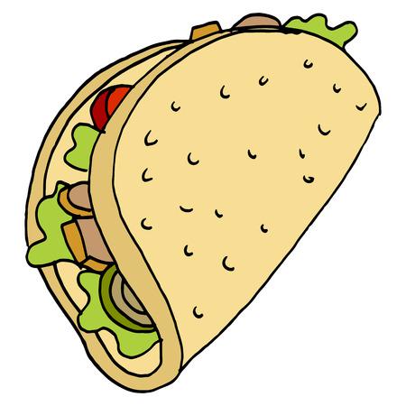 An image of a chicken flatbread sandwich. Banco de Imagens - 55942819