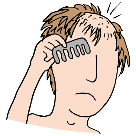 An image of a balding man combing hair. Ilustracja