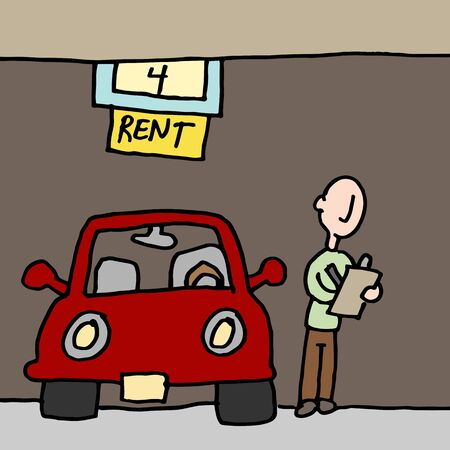 An image of a man reading car rental contract.