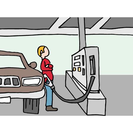 Een afbeelding van een bestuurder pompen gas op het station.