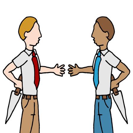 desconfianza: Una imagen de un hombre de negocios y agitar de nuevo apuñalamiento. Vectores