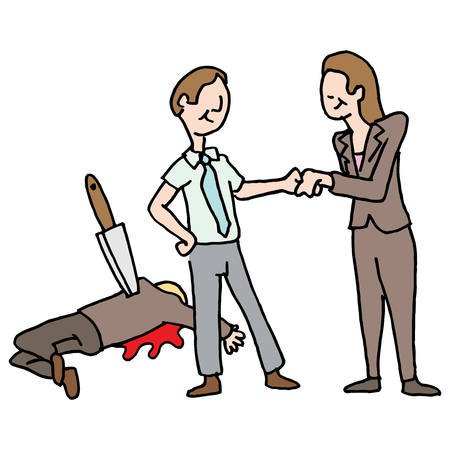 coworker: An image of a man getting a promotion by backstabbing his co-worker. Illustration