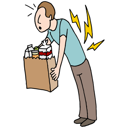 man back pain: An image of a man having back pain while carrying groceries.