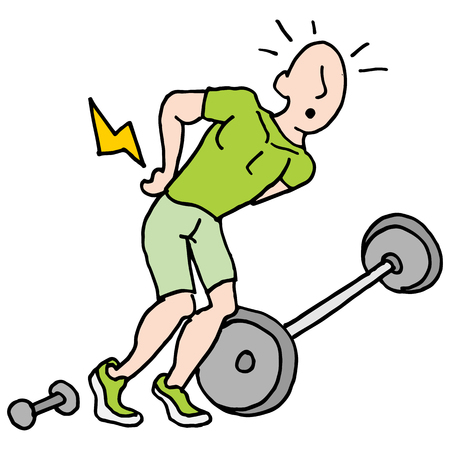 man lifting weights: An image of a man having back pain after lifting weights.