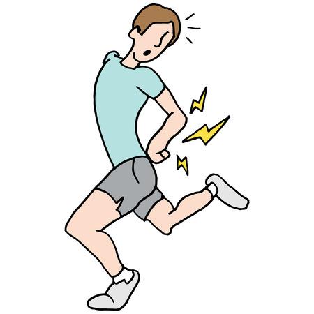 Une image d'un homme en cours d'exécution ayant des maux de dos. Banque d'images - 55942844