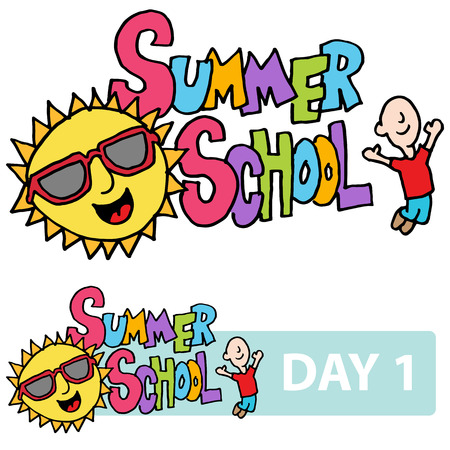 summer cartoon: An image of a summer school son and student message.