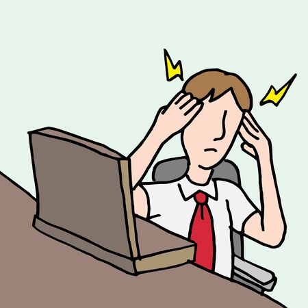 An image of a businessman with a migraine headache. Banco de Imagens - 55942835