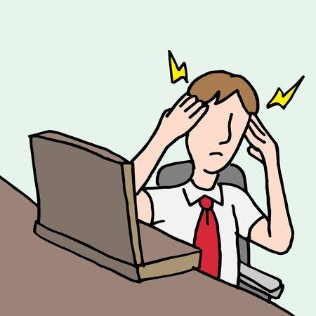 Een beeld van een zakenman met een migraine.