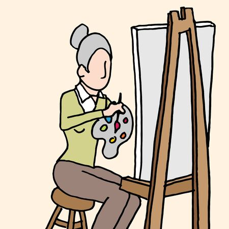 An image of a senior woman painting artwork on a canvas on an easel.