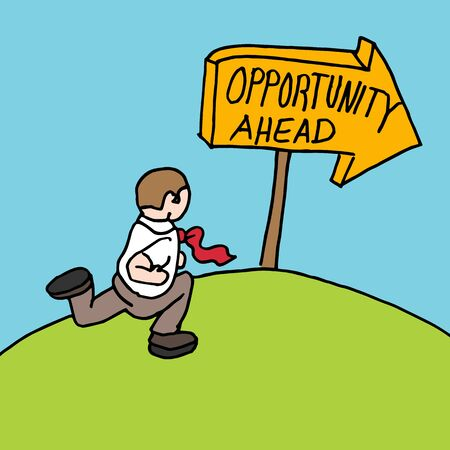 opportunity sign: An image of a man following opportunity ahead sign. Illustration