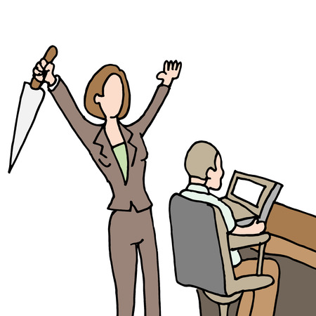 coworker: An image of a female employee backstabbing co-worker.