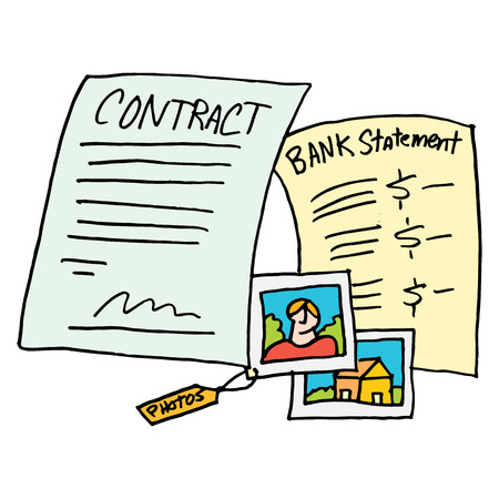 evidence: An image of a legal evidence contract documents.