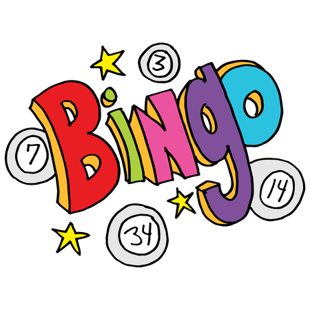 numbers clipart: An image of a bingo message with numbers and stars. Illustration