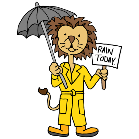 rain coat: An image of a lion wearing trench coat holding umbrella and sign. Illustration