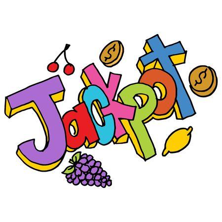 An image of a jackpot message slot machine text. Иллюстрация