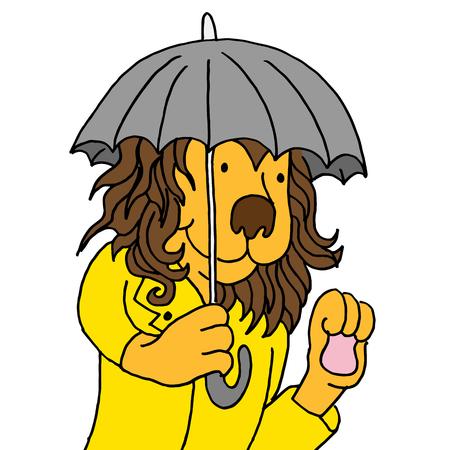An image of a lion using umbrella. Ilustracja