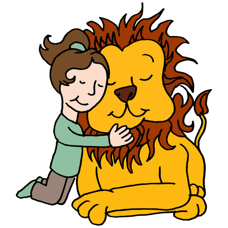 wild animal: An image of a girl hugging lion. Illustration
