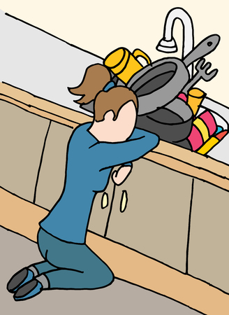 dish washing: An image of a exhausted woman doing dishes. Illustration