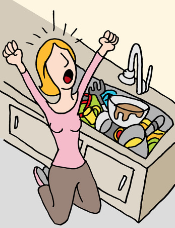 An image of a screaming woman doing dishes. Illustration