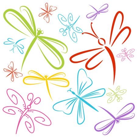 Obraz grupy ważki owady.
