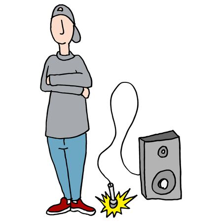 dropping: An image of a young teenager dropping the mic. Illustration