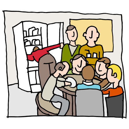 crowded: An image of a employees in a crowded break room. Illustration