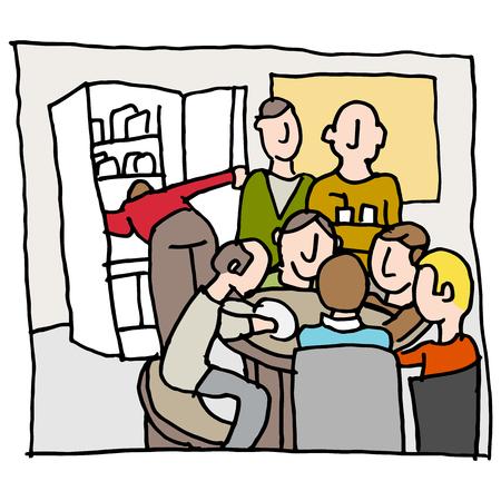 Een beeld van een werknemers in een overvolle kantine.