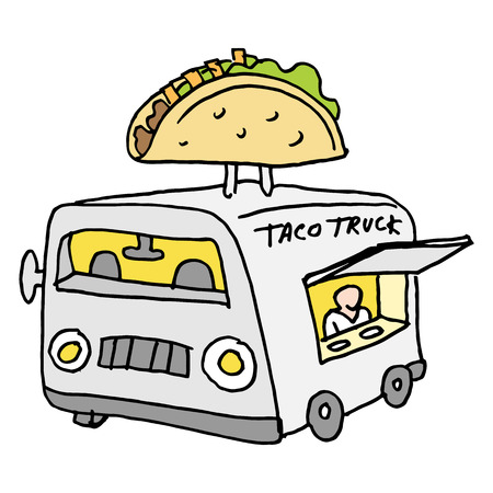 An image of a Mexican taco food truck. Vector Illustration