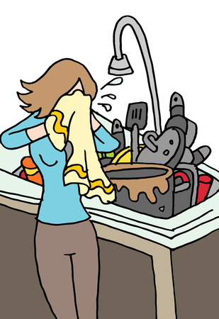 An image of a crying woman doing dishes. Ilustrace