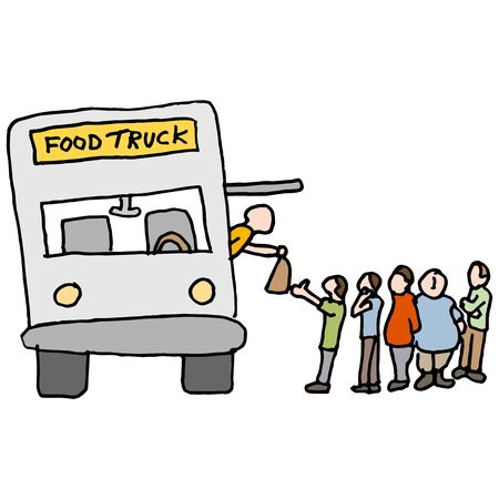 An image of a customers at a food truck. Vector Illustration