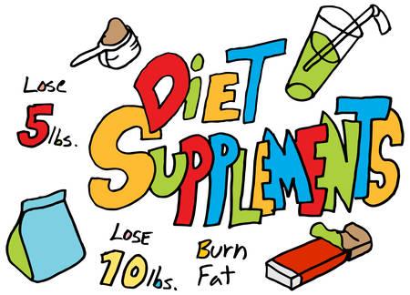 supplements: An image of a diet supplements doodle set.